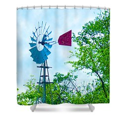 Aermotor Windmill With Red Tail Shower Curtain