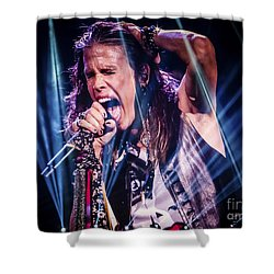 Aerosmith Steven Tyler Singing In Concert Shower Curtain by Jani Bryson