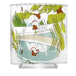 Aesop: Dog & Shadow Shower Curtain by Granger