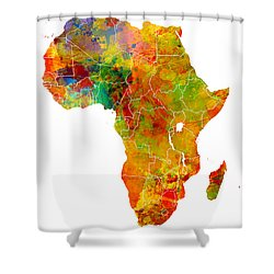 Africa Map Colored Shower Curtain by Justyna JBJart