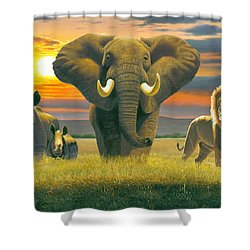 Africa Triptych Variant Shower Curtain by Chris Heitt