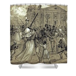 African American Soldiers Return Home From War - 1866 Shower Curtain by Daniel Hagerman