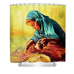 Shower Curtain featuring the painting African Chai Tea Lady. by Sher Nasser