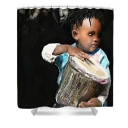 Shower Curtain featuring the painting African Drummer Boy by Vannetta Ferguson