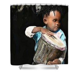 African Drummer Boy Shower Curtain