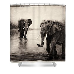 Shower Curtain featuring the painting African Elephants At Sunset by Sher Nasser