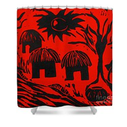 African Huts Red Shower Curtain by Caroline Street