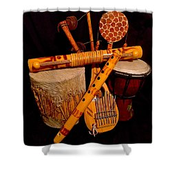 African Musical Instruments Shower Curtain
