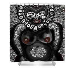 Shower Curtain featuring the painting African Venus In Hearts And Pasties by Carol Jacobs