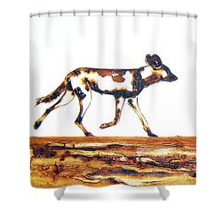 Endangered African Wild Dog - Original Artwork Shower Curtain