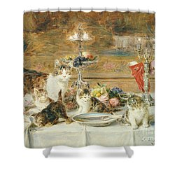 After Dinner Guests Shower Curtain by Louis Eugene Lambert