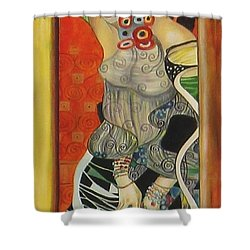 After Gustav Klimt Shower Curtain by Sylvia Kula