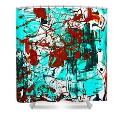 After Pollock Shower Curtain by Genevieve Esson