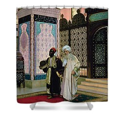 After Prayers At The Mosque Shower Curtain by Rudolphe Ernst