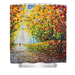 Shower Curtain featuring the painting After Rain Autumn Reflections Acrylic Palette Knife Painting by Georgeta Blanaru