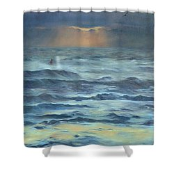 Shower Curtain featuring the painting After The Storm by Lori Brackett