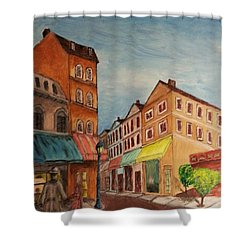 Afternoon Cafe Shower Curtain by Irving Starr