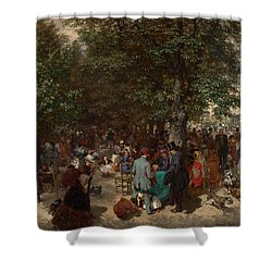 Afternoon In The Tuileries Gardens Shower Curtain by Adolph Friedrich Erdmann von Menzel