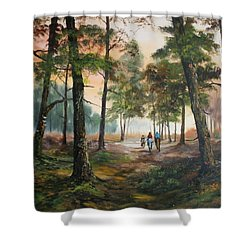 Afternoon Ride Through The Forest Shower Curtain by Jean Walker