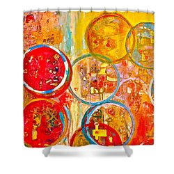 Against The Rain Abstract Orange Shower Curtain