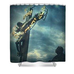Agfacolor Jesus Shower Curtain by Taylan Apukovska