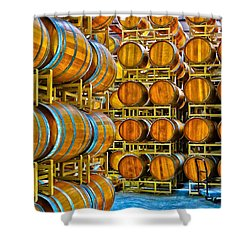 Aging Wine Barrels Shower Curtain by Richard J Cassato
