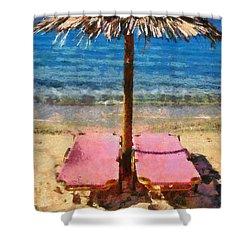 Agrari Beach In Mykonos Island Shower Curtain
