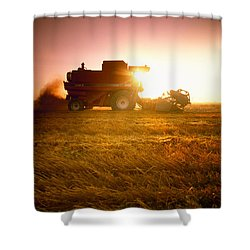 Agriculture - A Combine Harvests Wheat Shower Curtain by Mirek Weichsel