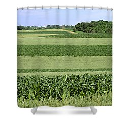 Agriculture - Contour Strips Of Mid Shower Curtain by Timothy Hearsum