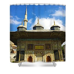 Ahmet II Fountain Next To Topkapi Palace Main Entry With A Minaret Of Hagia Sophia Palace Istanbul  Shower Curtain by Ralph A  Ledergerber-Photography
