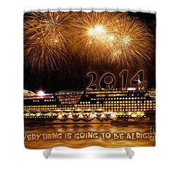 Shower Curtain featuring the photograph Aida Cruise Ship 2014 New Year's Day New Year's Eve by Paul Fearn