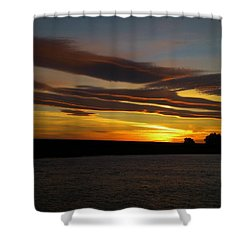 Air Brushed River Sunset Shower Curtain