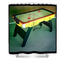 Air Hockey Table Shower Curtain by Les Cunliffe