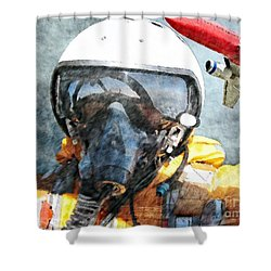 Air Pilot Shower Curtain by Liane Wright