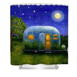 Airstream Camper Under The Stars Shower Curtain