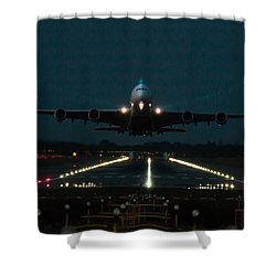Airbus A380 Take-off At Dusk Shower Curtain
