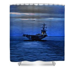 Aircraft Carrier Shower Curtain by Michael Pickett