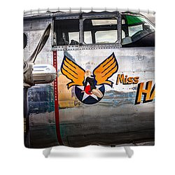 Shower Curtain featuring the photograph Aircraft Nose Art - Pinup Girl - Miss Hap by Gary Heller