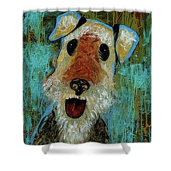 Airedale Terrier Shower Curtain by Genevieve Esson