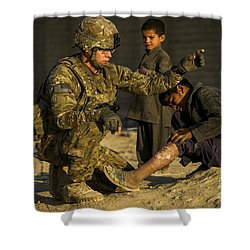 Airman Provides Medical Aid To A Local Shower Curtain by Stocktrek Images