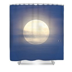 Airplane Flying Into Full Moon Shower Curtain