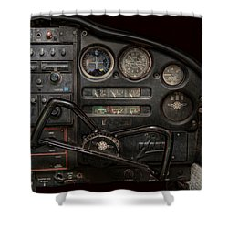 Airplane - Piper Pa-28 Cherokee Warrior - A Warriors View Shower Curtain by Mike Savad