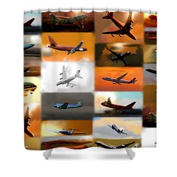 Airplanes Collage Shower Curtain by Marcello Cicchini