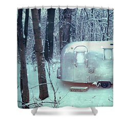 Airstream Trailer In Snowy Woods Shower Curtain