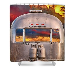 Airstream Travel Trailer Camping Sunset Window View Shower Curtain