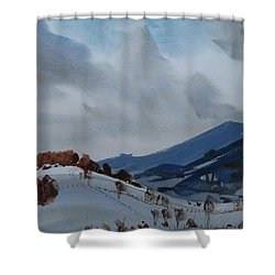 Shower Curtain featuring the painting Airyhill by Len Stomski