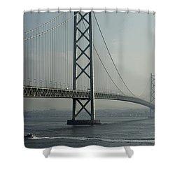 Akashi Kaikyo Bridge Posterization Shower Curtain by Daniel Hagerman