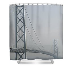 Akashi Kaikyo Suspension Bridge Of Japan Shower Curtain by Daniel Hagerman