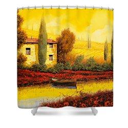 Al Tramonto Sul Fiume Shower Curtain by Guido Borelli