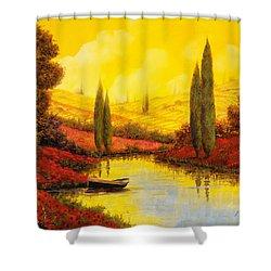 Al Tramonto Sul Torrente Shower Curtain by Guido Borelli
